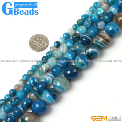 """Blue Stripe Onyx Agate Faceted Round Beads For Jewelry Making Free Shipping 15"""""""