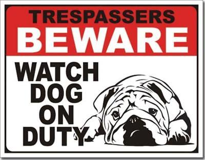 Trespassers Beware Watch Dog On Duty Shar-Pei Humorous Funny Tin Metal Sign