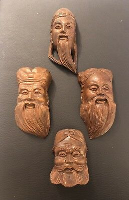 Vintage Hand Carved Wood CHINESE Miniature FACE MASK Wall Hanging Set 4 Wooden
