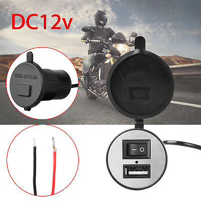 12V Motorcycle USB Charger Power Adapter Port Socket Switch For Phone GPS Tablet