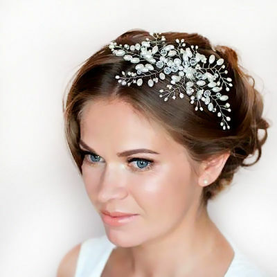 Bridal Bling Wedding Flower Crystal Pearl Diamante Hair Clip Pin Comb Headpiece