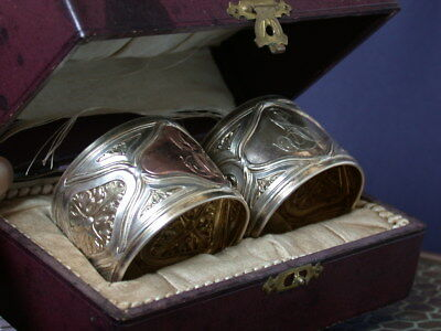 French 2 Antique Deco Victorian  Silver 800  Napking Rings Pair & Box No Reserve