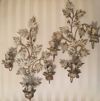 Pair Vintage Italian Tole Metal Candle Wall Sconce Gold/white Flowers/ivy