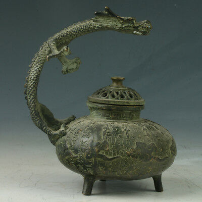 China Bronze Incense Burner Carved Dragon Made In The Daming Xuande RT1069+a