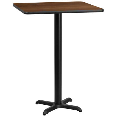 """30"""" Square Walnut Laminate Top With 22"""" X 22"""" Bar Height Table Base Brown"""
