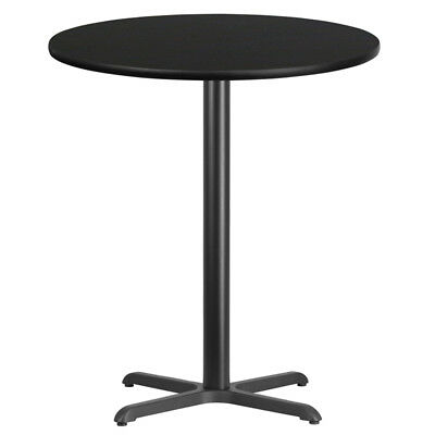 "36"" Round Black Laminate Top With 30"" X 30"" Bar Height Table Base"