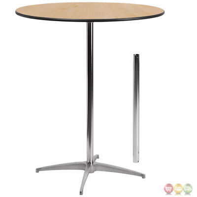 """New 36"""" Round Wood Cocktail Table With 30"""" And 42"""" Columns, Outdoor, Patio, Deck"""