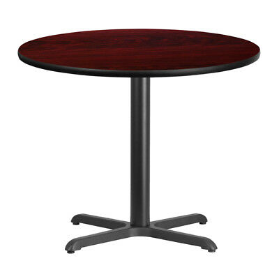 "36"" Round Mahogany Laminate Top With 30"" X 30"" Table Height Base"