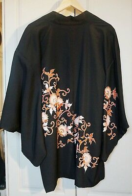 Vintage Ladies Japanese Black Silk Haori Jacket W Orange, Cream & Gold Flowers