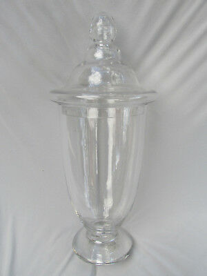 Huge Gorgeous Designs Clear Glass Covered Pedestal Apothecary Style Jar Canister