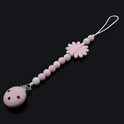 DIY Silicone Flowers Baby Teething Toy Beaded Pacifier Holder Chain Clip JA