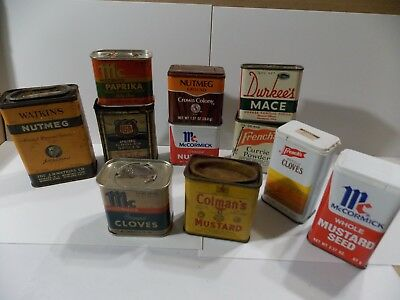 Vintage Collectible Advertising Spice Tin Lot-11 Tins-See Photos Great For Displ