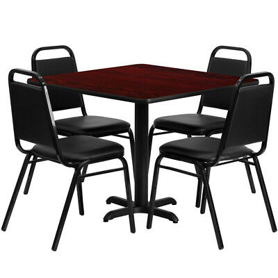 "New 36"" Square Mahogany Laminate Table Set W/ 4 Black Trapezoidal Banquet Chairs"