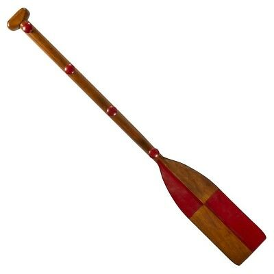 Wooden Red-Painted Tip Oar Coat Rack in Honey Antique French Finish