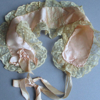 Antique c1900 Pink SILK + French LACE Headband Bed Cap w Silk RIBBONS + Bows