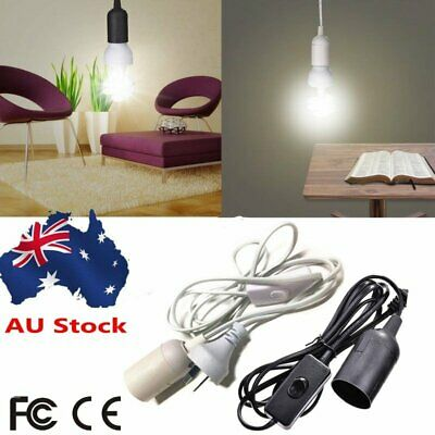 E27 Cable Cord Plug Pendant Lamp Light Bulb Holder Socket Base With Switch