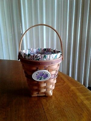Longaberger 1994 May Series Lilac Basket COMBO Liner, Protector & Tie On EXCLNT