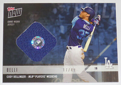 6f3a9e1d7 2018 Clay Bellinger Topps Now Game Used Dodger Players Weekend Jersey Relic  Card
