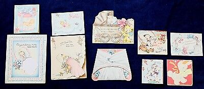 BIRTH ANNOUNCEMENTS, BIRTHDAY CARDS ,10 Used 1940's-1990