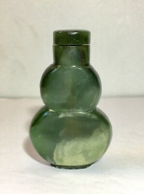 Chinese Antique Snuff Bottle - Dark Green Spinach Jade Qing Dynasty 19th c.