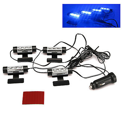 4-in-1 In Car Auto Charge Interior LED Atmosphere Lights LED Deco Lamp BLUE