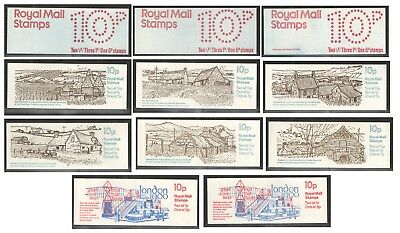 FA1 to FA11b - 10p folded booklets. Unmounted mint. Each sold separately.