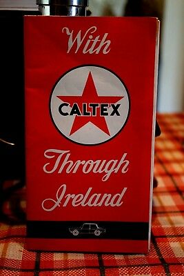1964 CALTEX Road Map Ireland With Scenic Routes Highlighted and city street maps