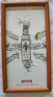 BEEFEATERS DRY GIN Framed Advertising Ad, 13 x 7, take a L@@K