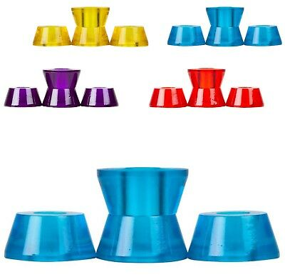 """CLOUDS """"Cosmic Conical"""" Skate Bushings Roller Derby RED YELL BLUE PUR Quads x4"""