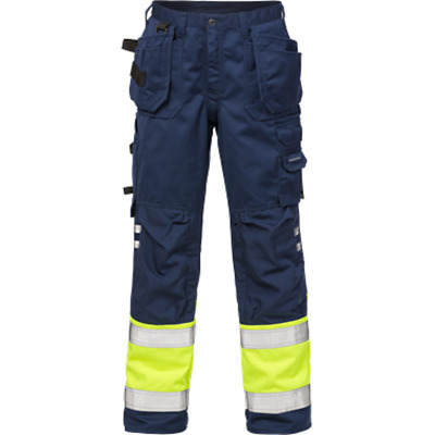 Navy Blue Hi Viz  Workwear trousers by Fristads  Free P+P