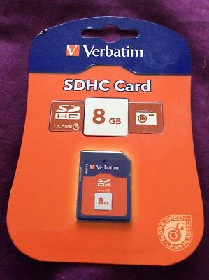 Verbatin 8gb Memory SD SDHC Card Ideal for Digital Cameras Video Camcorders