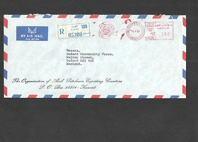 Kuwait 1985 - Commercial Airmail Registered Cover to England. See pics for info.