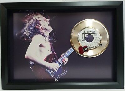 AC/DC Angus Young Gold record display with replica mini guitar custom framed