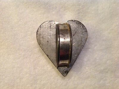 Antique Soldered Tin Heart Shaped Cookie Cutter with Handle