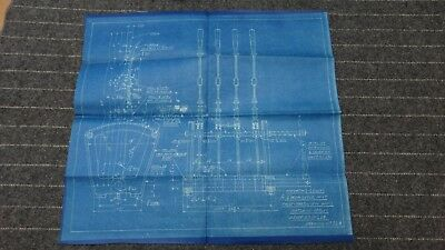 """(368) Original Undated Blueprint Drawing 17"""" x 18"""" - Operating Levers for 2 Drum"""