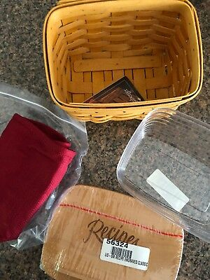 Longaberger 2002 Classic Stain Small Recipe Basket, Protector and Lid Set - NEW