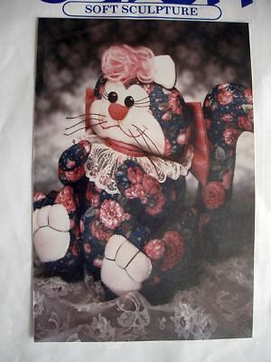"""Fat Cat Soft Sculpture Kit 12"""" Tall SEALED 1990 Design 1 Floral Fabric Lace +"""