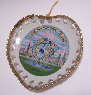 New York World's Fair~UNISPHERE~ Heart Shaped Plate~1964-1965 Banner