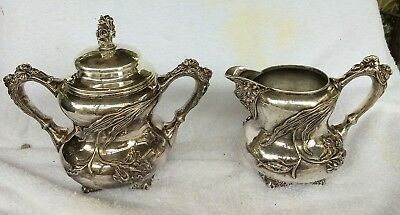 Patented 1903  E. G. Webster & Son Repousse Quadruple Plate Sugar And Creamer