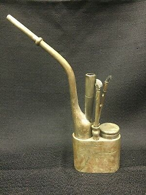 ANTIQUE CHINESE BRASS PAKTONG WATER PIPE ENGRAVED & SIGNED ~ 9in TALL ~ c.19TH?
