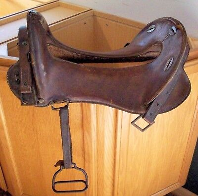 """WWI WWII 12"""" McClellan Saddle metal stirrups, inspector initials + other letters"""
