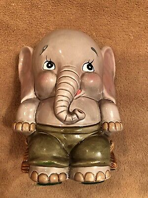 Vintage ENESCO Adorable Kitschy Ceramic Sitting Elephant Green Pants Coin Bank