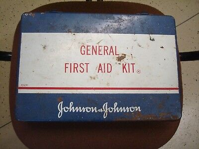 VINTAGE JOHNSON & JOHNSON EMERGENCY GENERAL FIRST AID KIT BOX W/CONTENTS 1960's