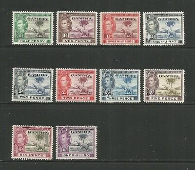 THE GAMBIA – 1938 – DEFINITIVE ISSUE – Scott #132-138 – 10 DIFFERENT - MINT