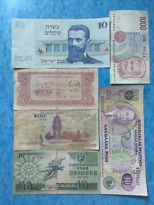 LOW GRADE+UP WORLD MIX ALL DIFFERENT ~ 6 X PAPER MONEY LOT(check Clearly)