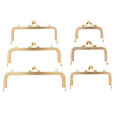 8.5cm Gold Squared Hollow Metal Purse Handbag Frame Kiss Clasp with Sewing Lock