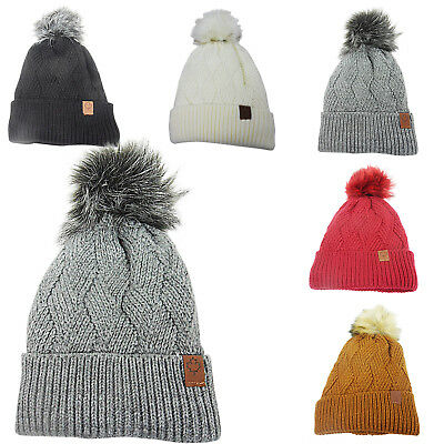fb760f70c0c Womens Ladies DETACHABLE POM Fur Knitted Sherpa Fleece Lined Thermal Bobble  Hat