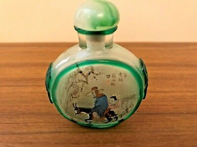 "Beautiful Reverse Hand Painted Snuff Bottle 2.25"" High (R. Vallee Estate)"