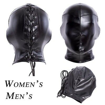 Full Head PU Leather BDSM Mask Slave Costume Restraint Bondage Mouth Adult