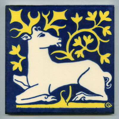 "Screen printed 6""sq reproduction Pugin 'Stag' tile by The Decorative Tile Works"